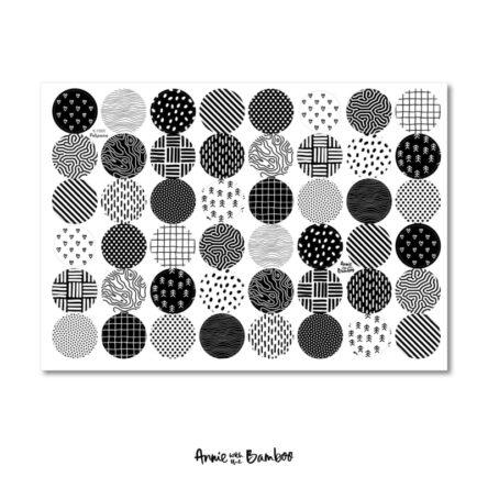 Stickervel 'Patronen zwart/wit 02'