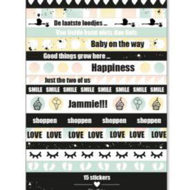 Stickervel 'baby op komst' (lange stickers)