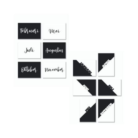 Quote Cards – Maanden Z/W – diverse varianten