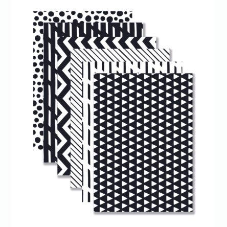 Achtergronden 'Black & White' 6 stuks A4